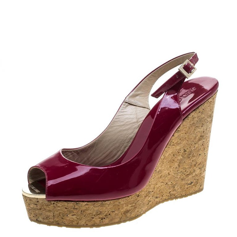 64765dc2aca6 Jimmy Choo Cherry Red Patent Leather Prova Cork Wedge Slingback Sandals Size  40 For Sale