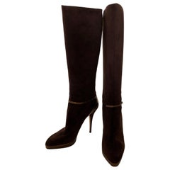 Jimmy Choo Chocolate Brown Suede Back Zip w/ Copper Snake Accents Knee Boots