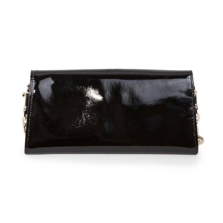 Jimmy Choo Clutch Bag In Black Patent Leather Excellent Condition For Paris