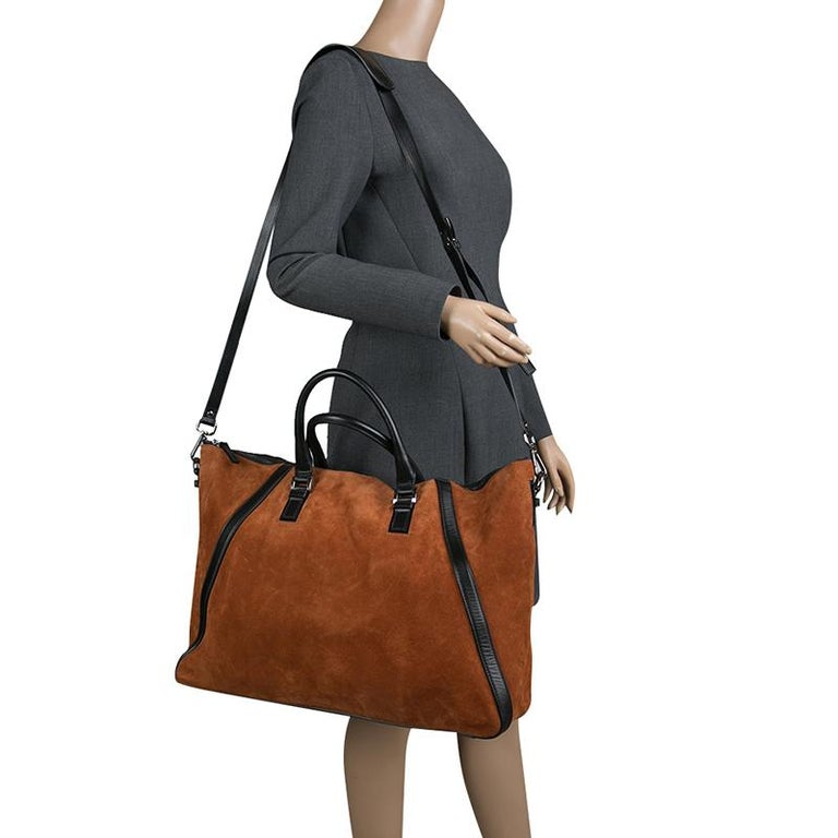 Brown Jimmy Choo Cognac/Black Suede and Leather Satchel For Sale