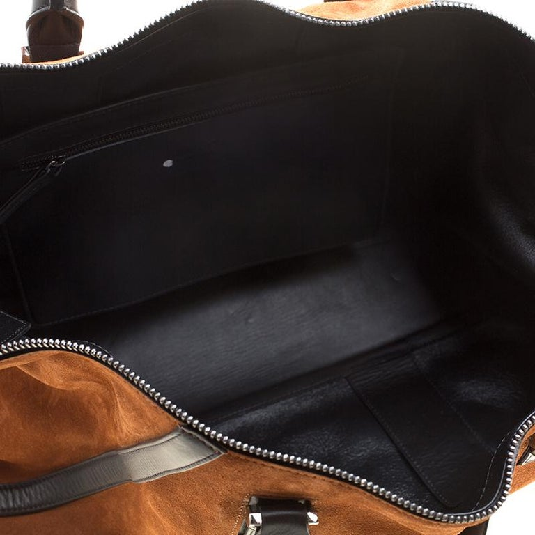 Jimmy Choo Cognac/Black Suede and Leather Satchel In Good Condition For Sale In Dubai, AE