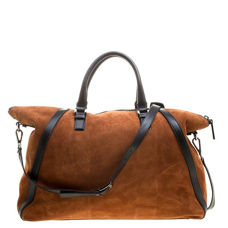Jimmy Choo Cognac/Black Suede and Leather Satchel For Sale