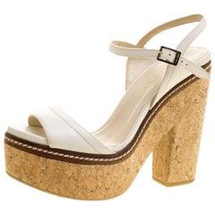 Jimmy Choo Cream Leather Naylor Platform Cork Ankle Strap Sandals Size 41