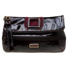 Jimmy Choo Dark Burgundy Patent Leather and Suede Large Mave Foldover Clutch