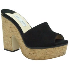 Jimmy Choo Deedee 125 Black Suede Sandal Wedges  - 38.5
