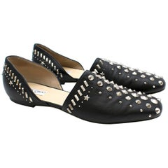 Jimmy Choo D'orsay Studded Black Leather Flats  42