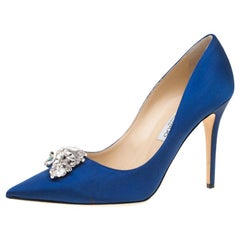 Jimmy Choo Electric Blue Satin Manda Crystal Embellished Pointed Toe Pumps 41