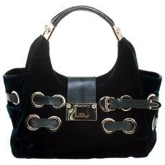 Jimmy Choo Emerald Green Velvet Ramona Shoulder Bag