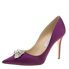Jimmy Choo Exclusive Collection Deep Purple Satin Manda Crystal Embellished Poin