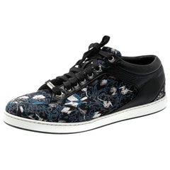 Jimmy Choo Floral Printed Satin And Leather Miami Low Top Sneakers Size 39