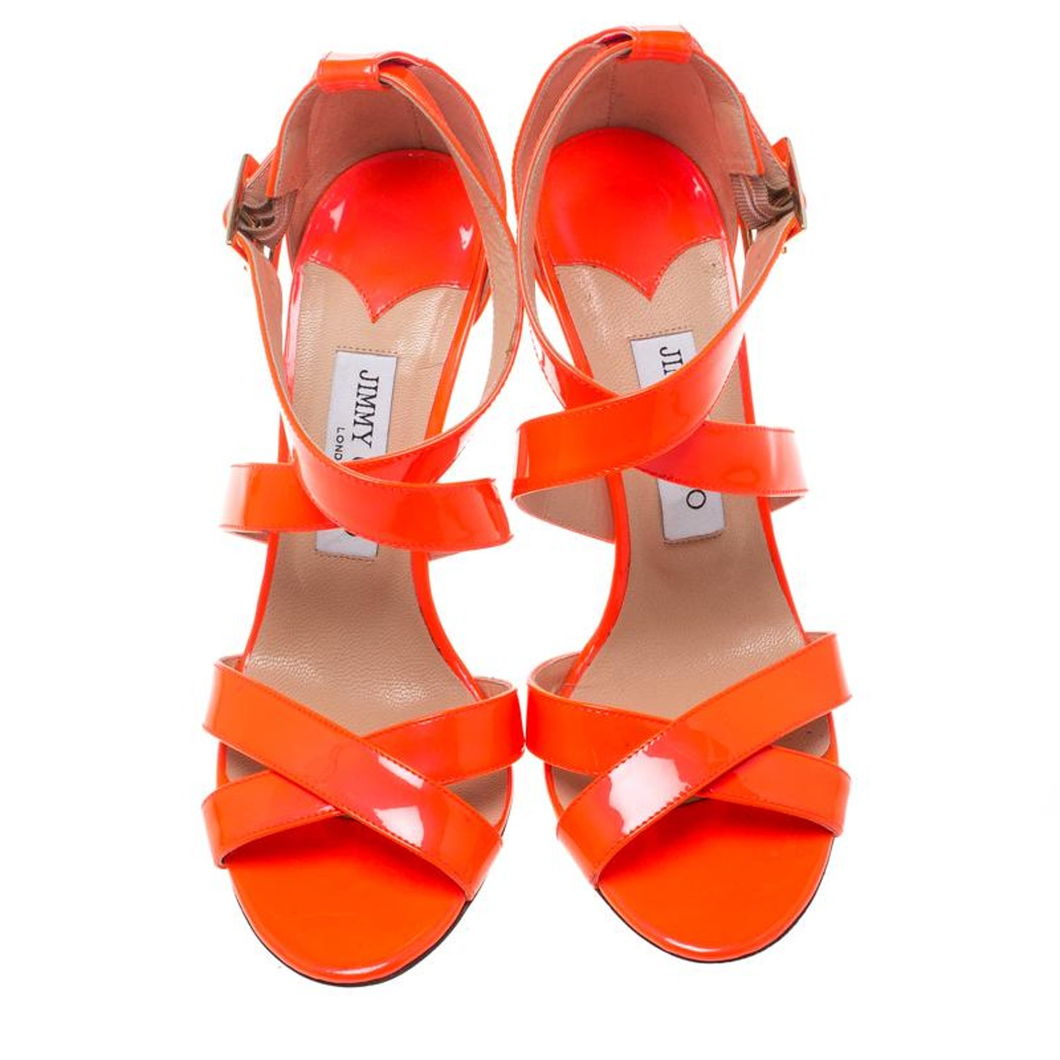 55b0d16145b Jimmy Choo Fluorescent Orange Patent Leather Louise Cross Strap Sandals  Size 39. For Sale at 1stdibs