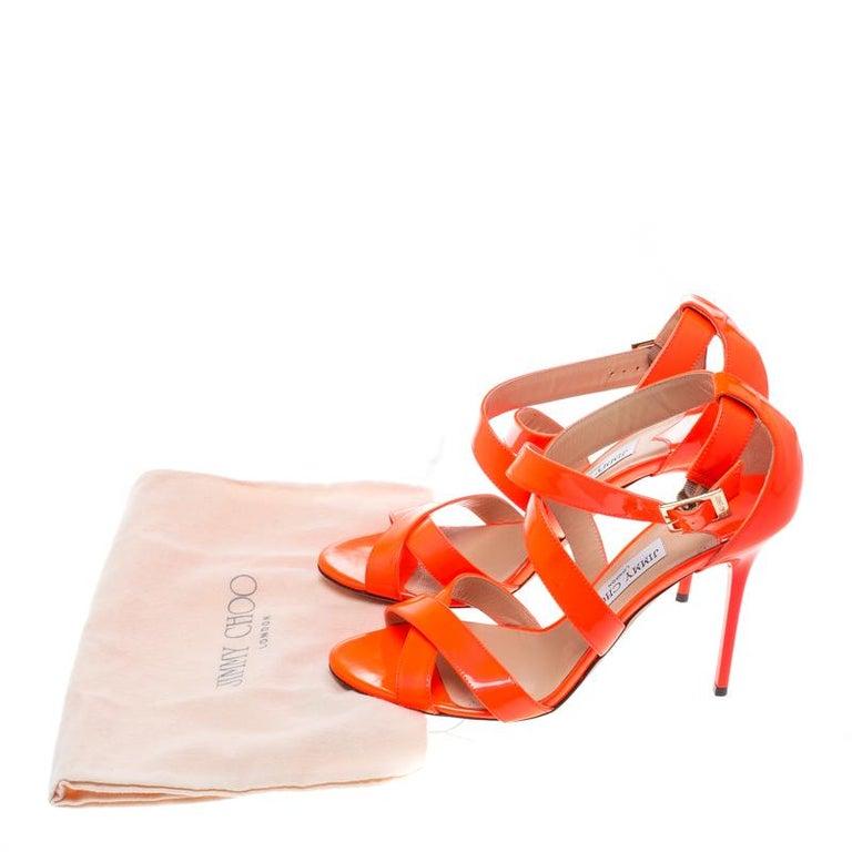 986d5a61997 Jimmy Choo Fluorescent Orange Patent Leather Louise Cross Strap ...