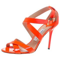 Jimmy Choo Fluorescent Orange Patent Leather Louise Sandals Size 39.5