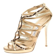 Jimmy Choo Glitter Leather And Calf Hair Trim Mercury Cage Open Toe Sandals 38
