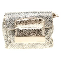 Jimmy Choo Gold and Silver Glitter Fabric Mini Rebel Crossbody Bag