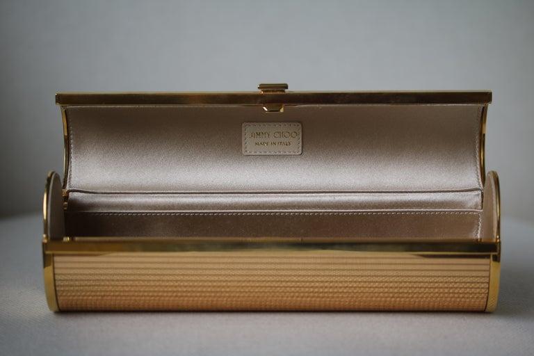 Jimmy Choo Gold Disco Bars Cylinder Cosma Clutch For Sale 2