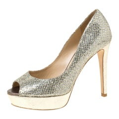 Jimmy Choo Gold Glitter Fabric Dahlia Platform Peep Toe Pumps Size 36