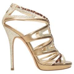 Jimmy Choo Gold Glitter & Leopard Print Cutout Sandals