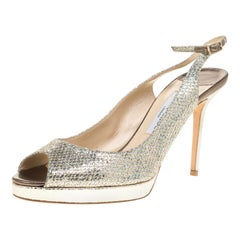 Jimmy Choo Gold Lamè Glitter Fabric Nova Peep Toe Platform Slingback Sandals 42
