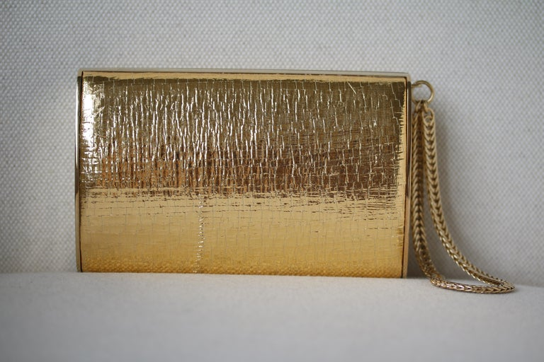 Brown Jimmy Choo Gold leather Clutch For Sale