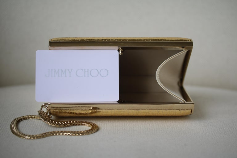 Jimmy Choo Gold leather Clutch For Sale 2