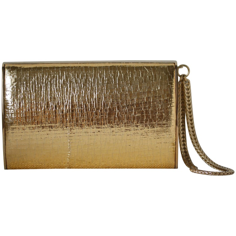 Jimmy Choo Gold leather Clutch For Sale