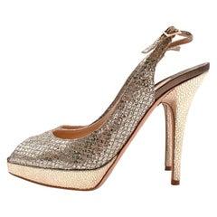 Jimmy Choo Gold Leather & Glitter Peep Toe Platform Pumps - Size EU 38