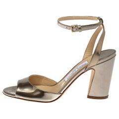 Jimmy Choo Gold Leather Miranda Peep Toe Ankle Strap Sandals Size 37