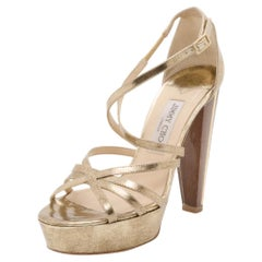 Jimmy Choo Gold Platform Sandals Size 37.5