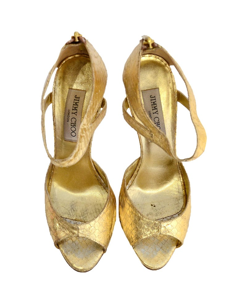 Jimmy Choo Gold Python Sandals sz 38 In Good Condition For Sale In New York, NY