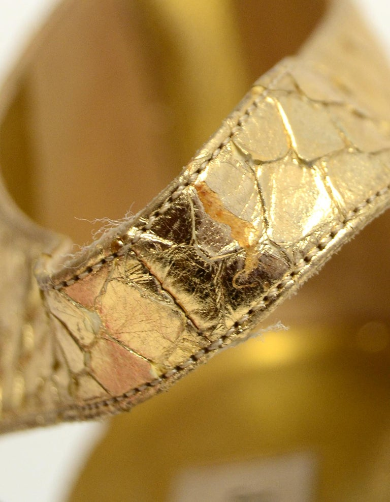 Jimmy Choo Gold Python Sandals sz 38 For Sale 4