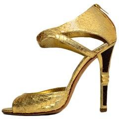 Jimmy Choo Gold Python Sandals sz 38