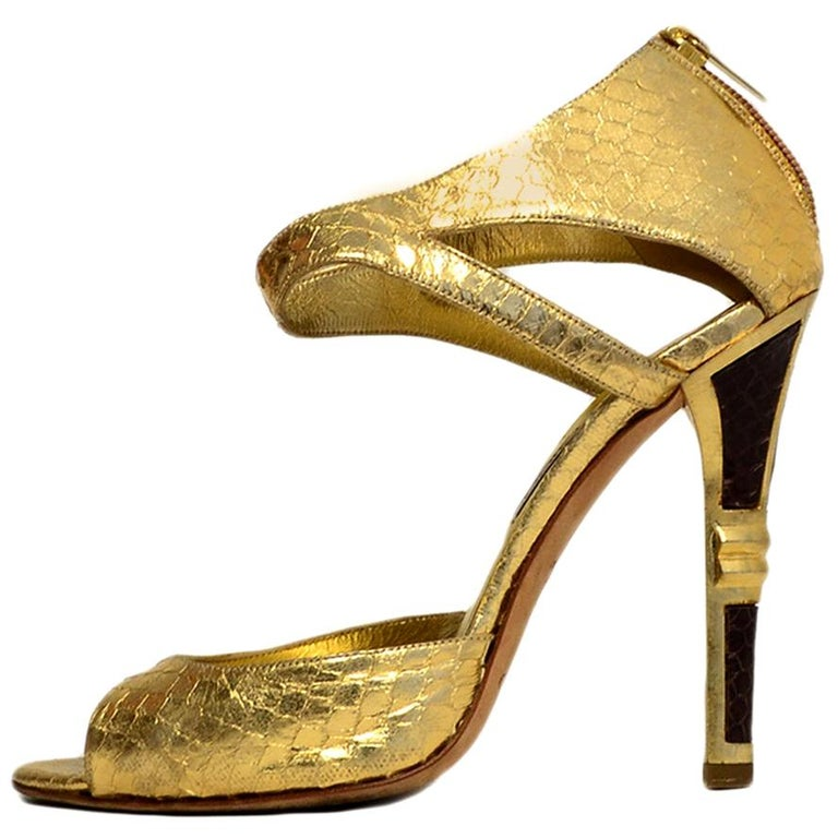 Jimmy Choo Gold Python Sandals sz 38 For Sale