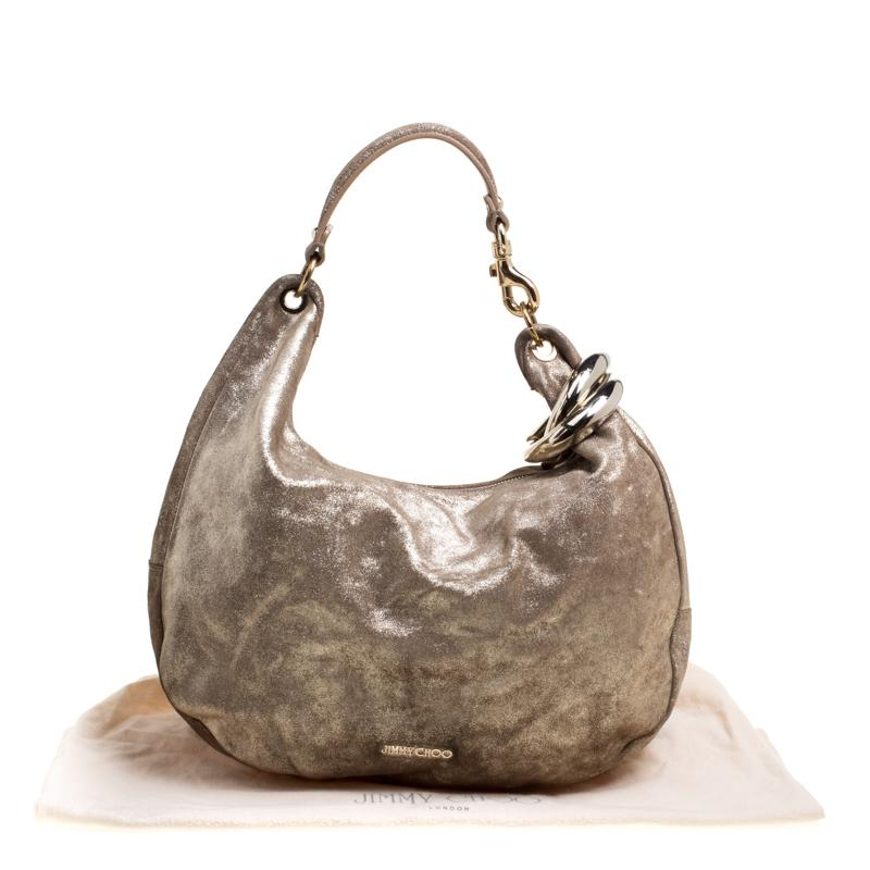 86f3789f6e Jimmy Choo Gold Shimmering Leather Large Solar Hobo For Sale at 1stdibs