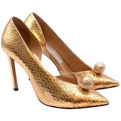 Jimmy Choo Gold Snakeskin Sandria 100 Embellished Metallic Pumps - Size 37