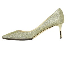 Jimmy Choo Gold Sparkle Pointed Toe Pumps sz 39