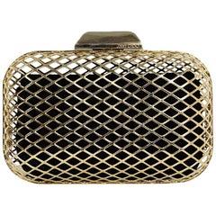 Jimmy Choo Goldtone Cloud Cage Box Clutch Bag