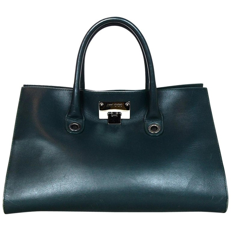 ed5dbda270f2 Jimmy Choo Green Leather Suede Riley Tote Bag For Sale at 1stdibs