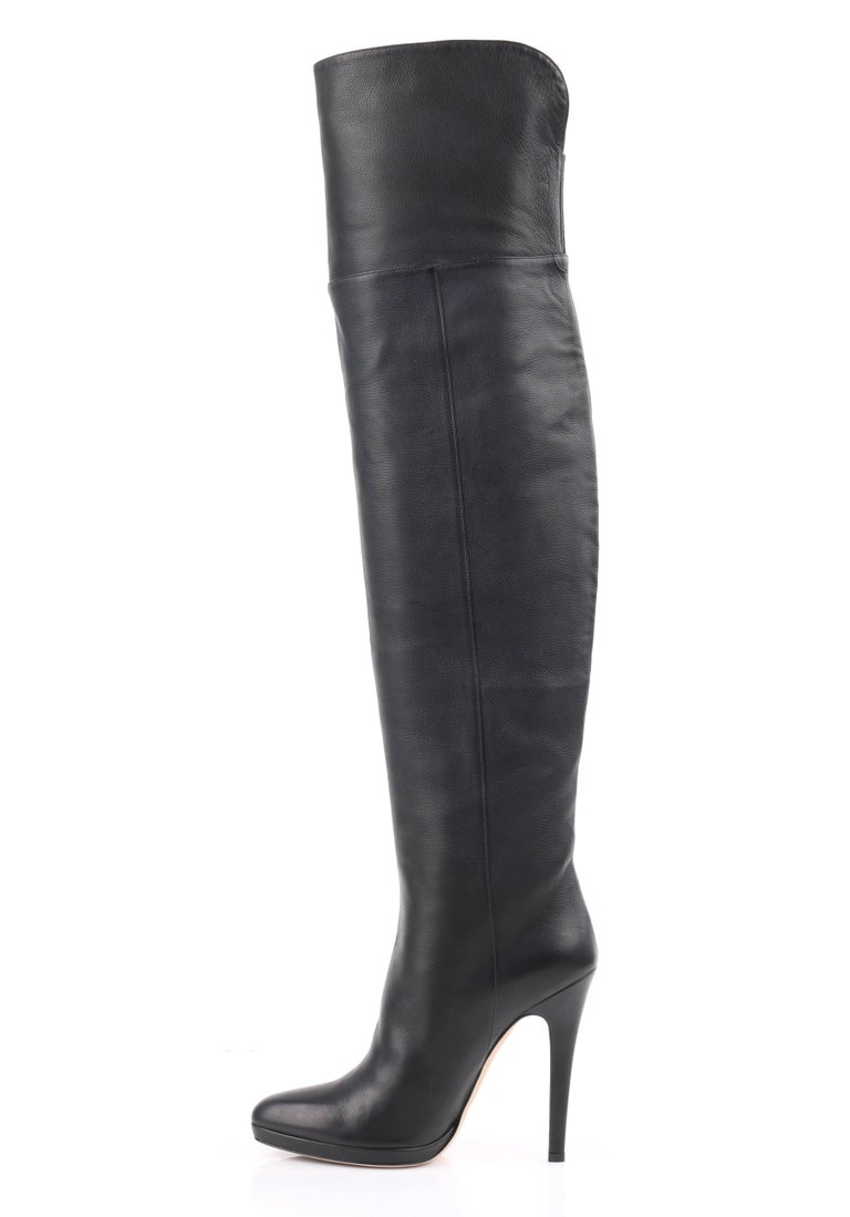 jimmy choo gypsy black leather fitted over the knee heeled boots