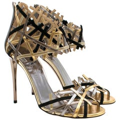 Jimmy Choo Hanover Vogue 100 Black and Gold Sandals 38