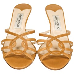 Jimmy Choo Honey Leather Strappy Slides With Kitten Heels
