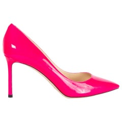 JIMMY CHOO hot pink patent leather ROMY 85 POINTED-TOE Pumps Shoes 39.5