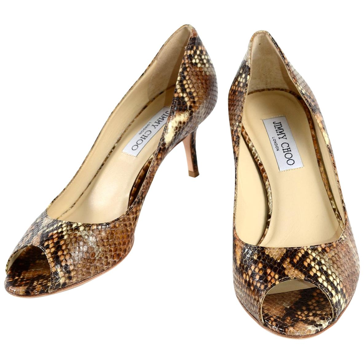 Jimmy Choo Isabel Python Snakeskin Peep Toe Kitten Heel Shoes Size 38.5