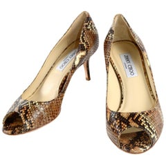 Jimmy Choo Isabel Python Snakeskin Peep Toe Kitten Heel Shoes Size 38.5