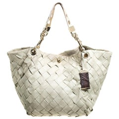 Jimmy Choo Ivory Woven Leather Tote