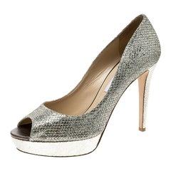 Jimmy Choo   Lamè Glitter Fabric Dahlia Platform Peep Toe Pumps Size 41