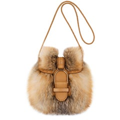 JIMMY CHOO Leah Red Fox Fur Leather Woven Cross-body Shoulder Bag