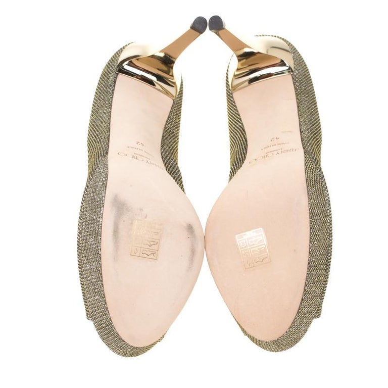 Women's Jimmy Choo Light Bronze Lamè Glitter Fabric Dahlia Platform Peep Toe Pumps 42 For Sale
