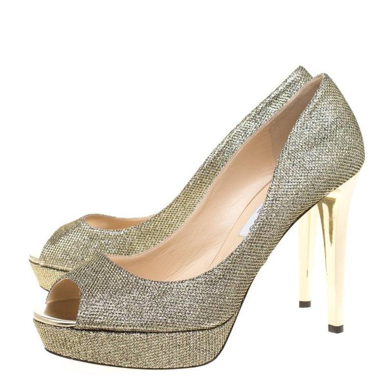 Jimmy Choo Light Bronze Lamè Glitter Fabric Dahlia Platform Peep Toe Pumps 42 For Sale 2
