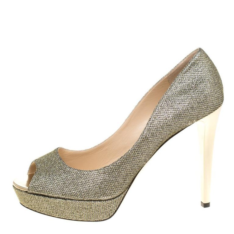 Jimmy Choo Light Bronze Lamè Glitter Fabric Dahlia Platform Peep Toe Pumps 42 For Sale 3